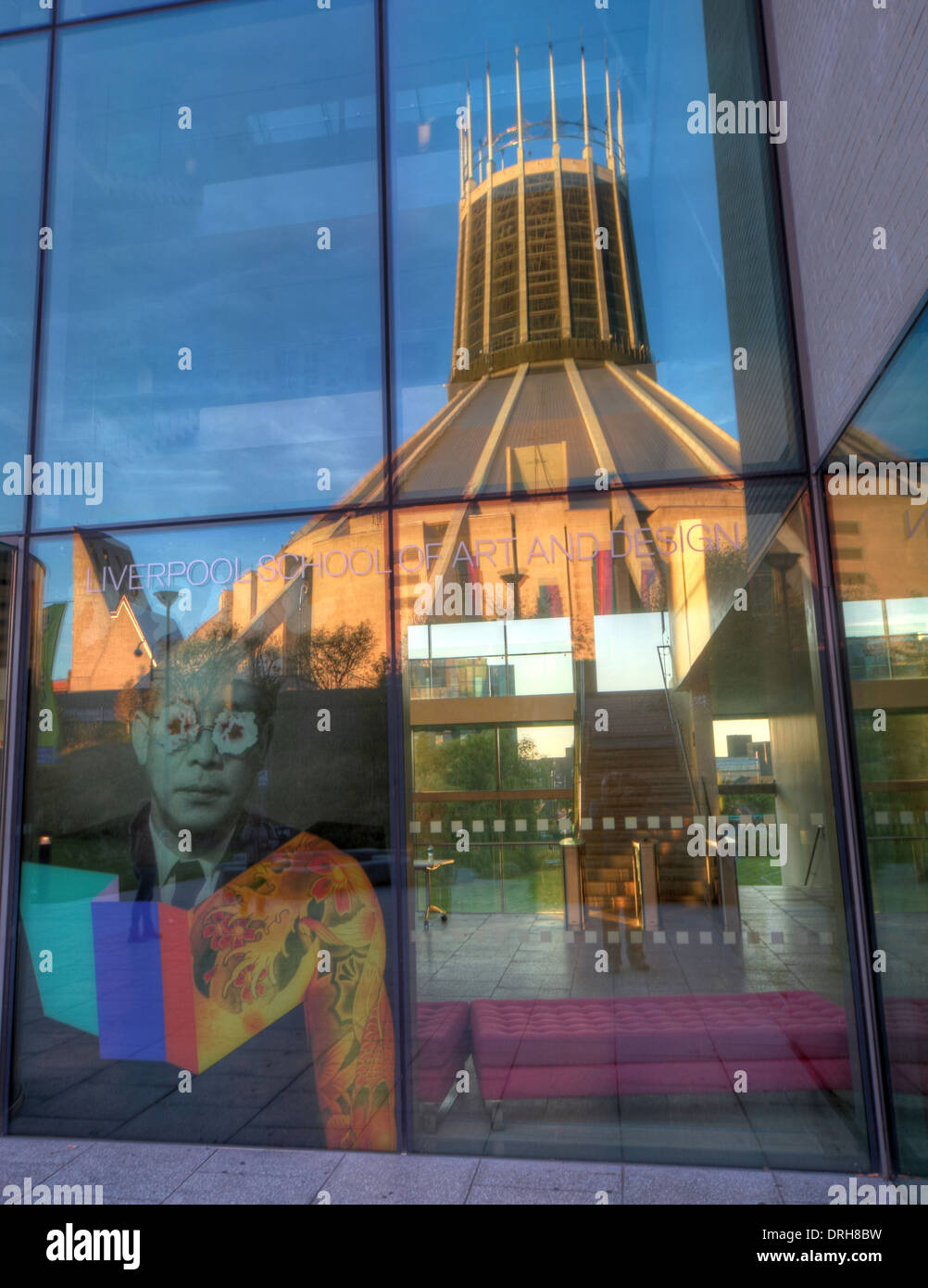 Liverpool Catholic Cathedral Reflected in School Of Art, England UK - Stock Image