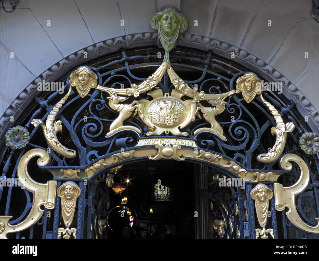 Golden entrance art at the Philharmonic Dining Rooms Hardman/Hope St Liverpool, England United Kingdom - Stock Image