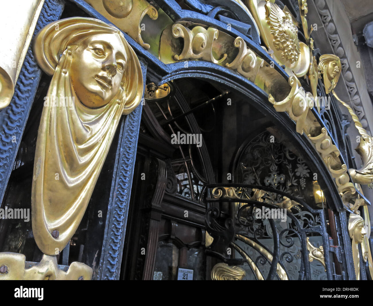 Ornate gold entrance to the Philharmonic Dining Rooms in Hope St, Liverpool,  England UK - Stock Image