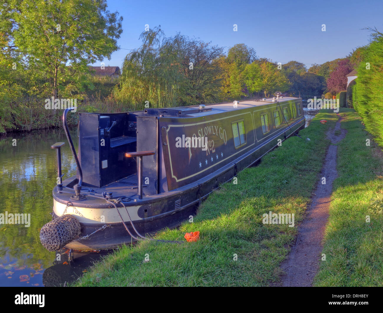 Long boat on Bridgewater canal Grappenhall Warrington Cheshire England UK - Stock Image