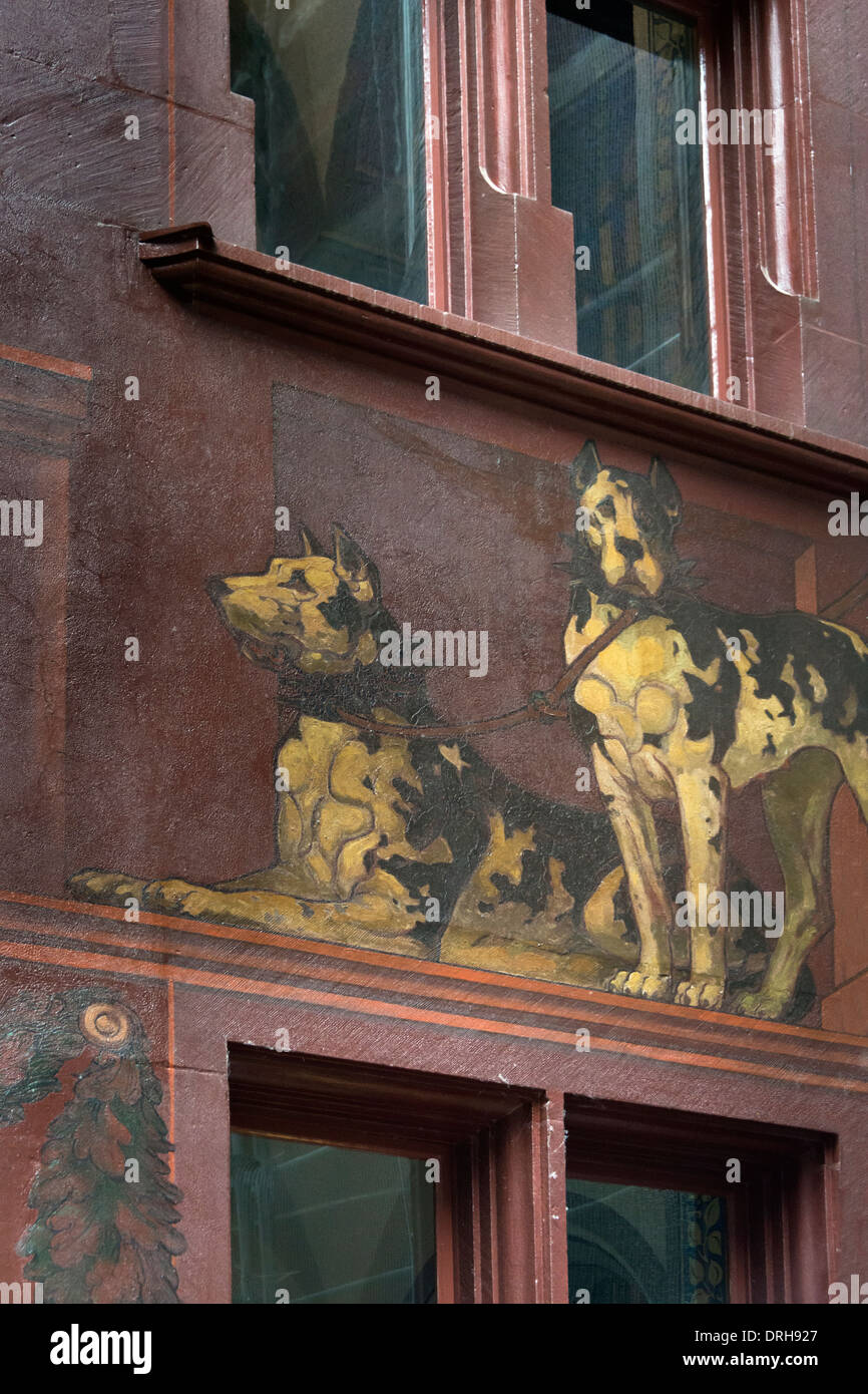 Painting of two large harlequin Great Danes, Basel Rathaus, Old Basel, Switzerland - Stock Image