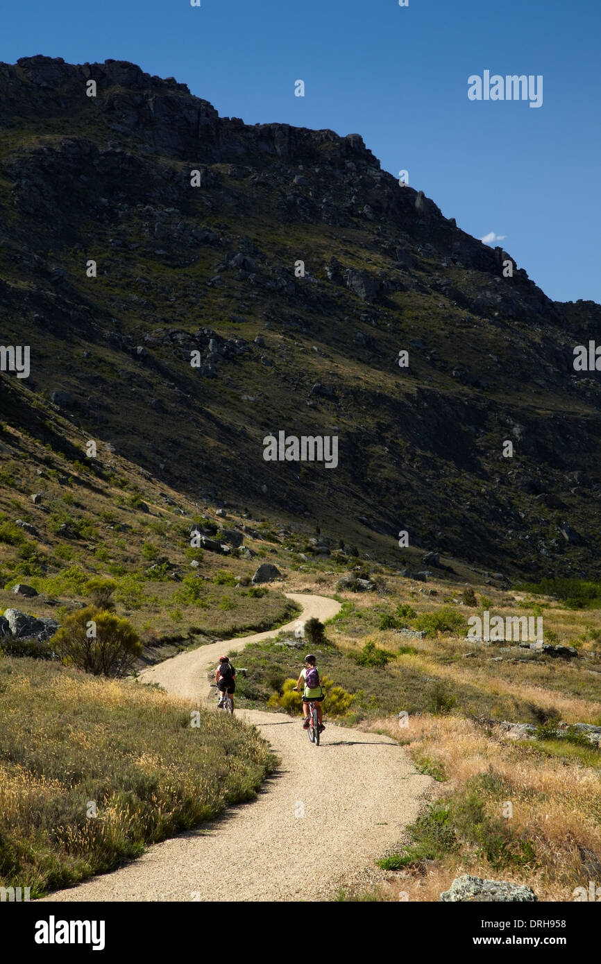 Mountain bikers on Roxburgh Gorge Cycle and Walking Track, Central Otago, South Island, New Zealand - Stock Image