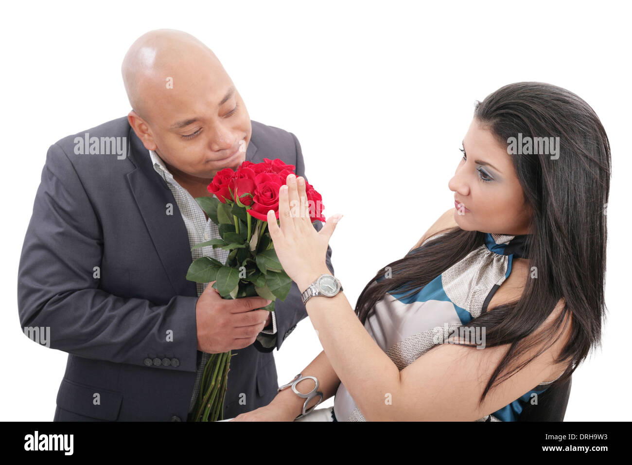 woman refusing apologies from her boyfriend - Stock Image