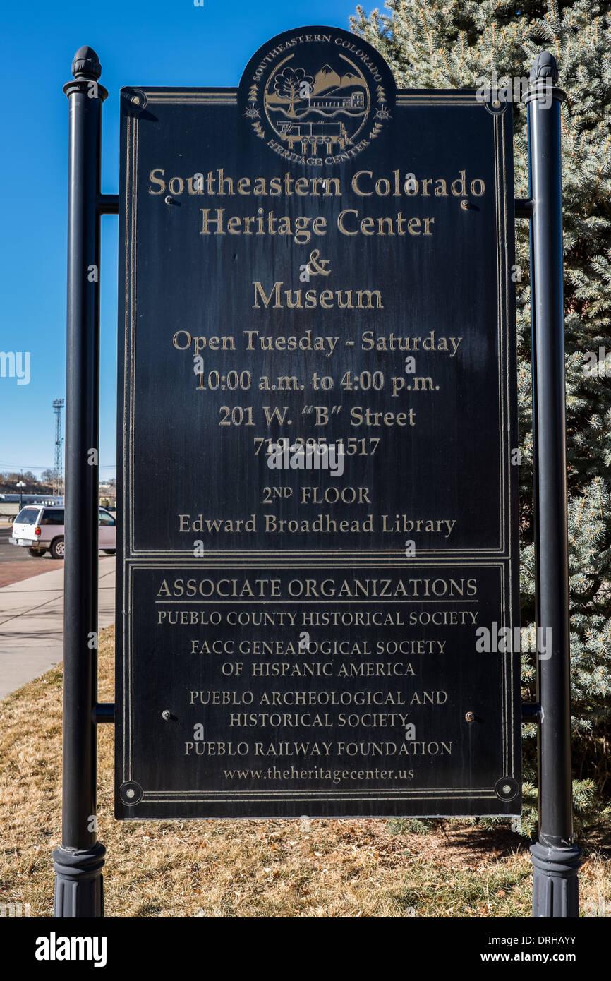 Southeastern Colorado Heritage Center & Museum sign in Pueblo, Colorado - Stock Image