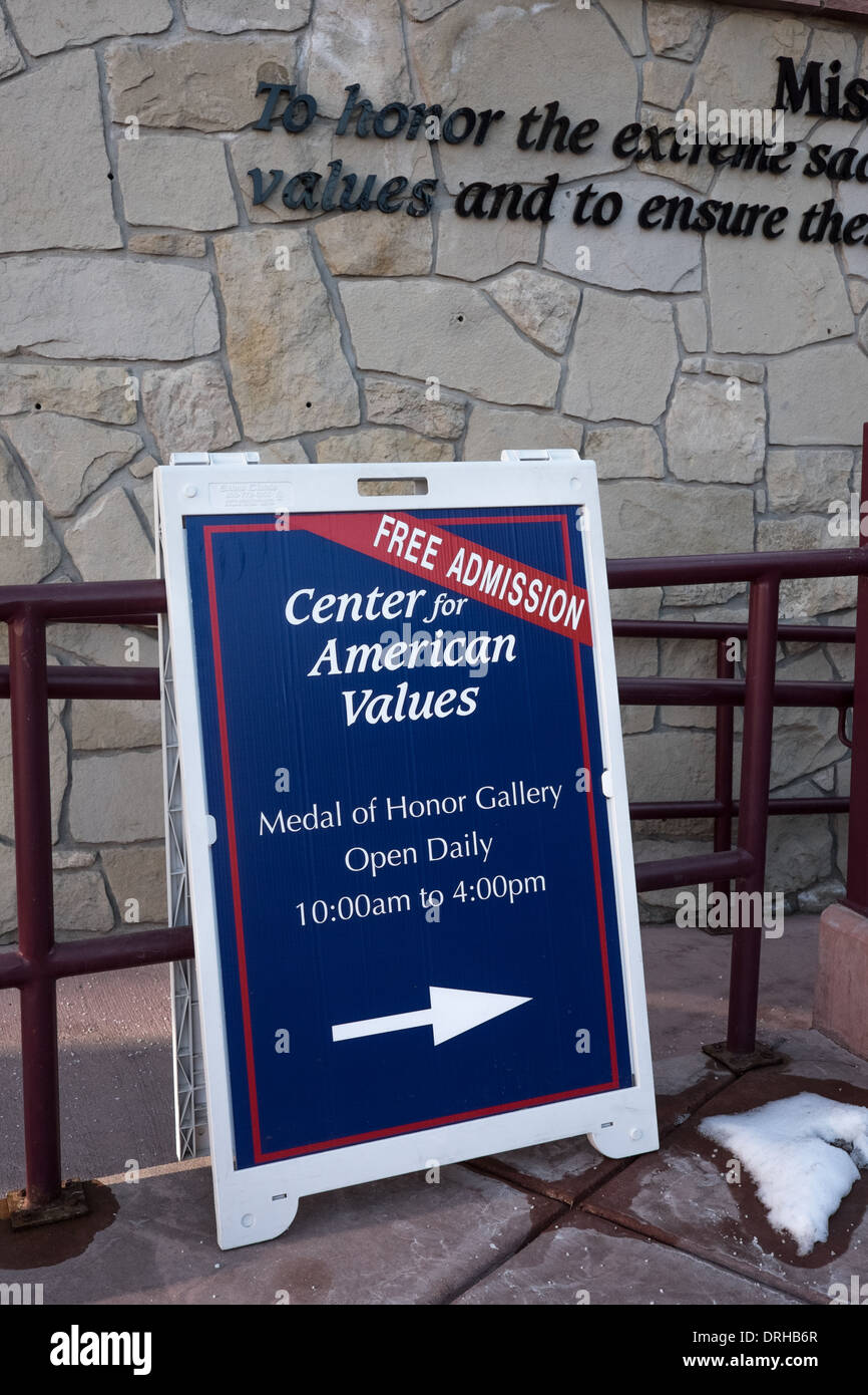 Center for American Values in Pueblo, Colorado. Free Admission to the Medal of Honor Gallery. - Stock Image