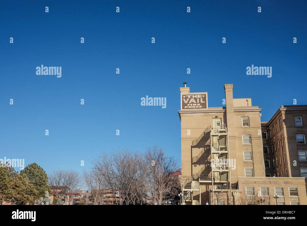 The Vail Fire Proof Hotel in Pueblo, Colorado. - Stock Image