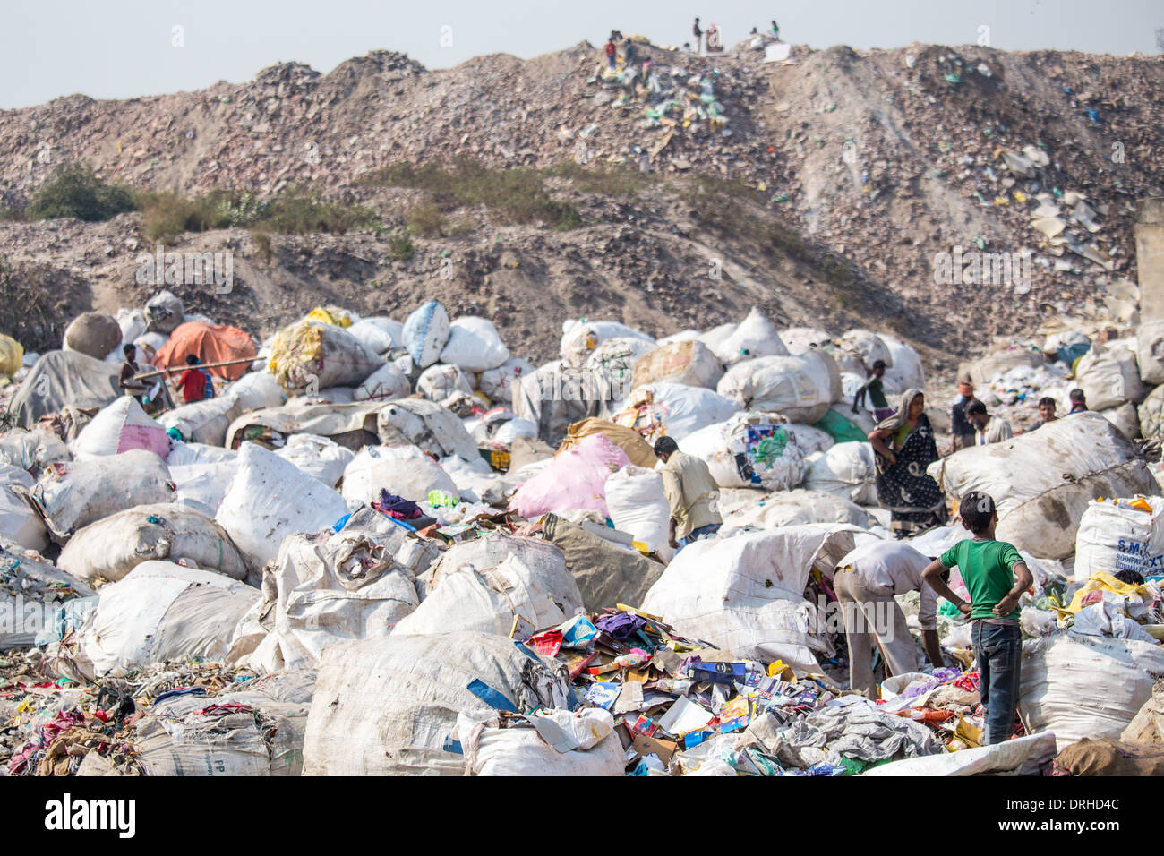 Pickers at a garbage dump in Delhi, India - Stock Image