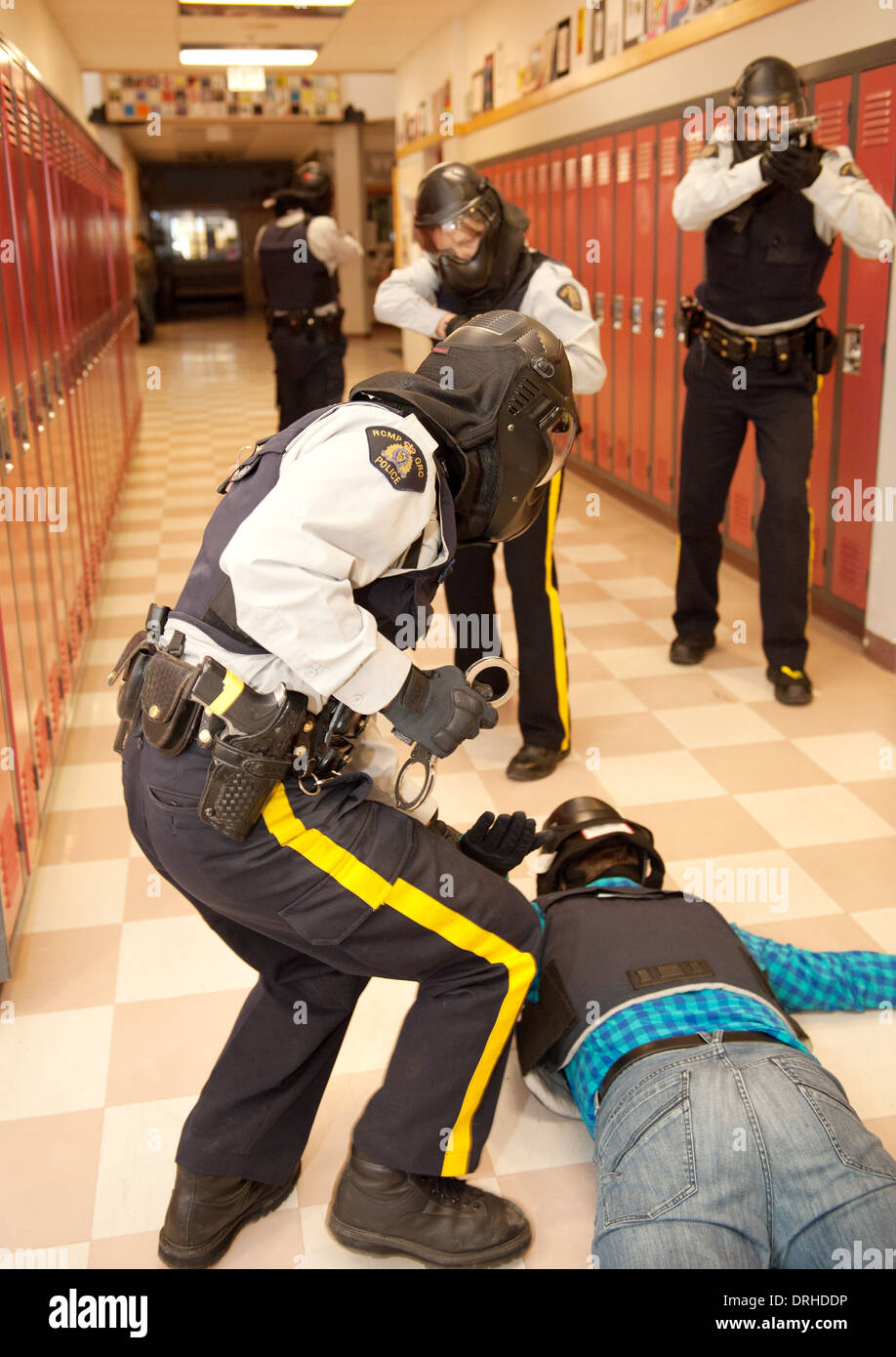 RCMP police officers take part in an active threat training exercise in SWAT, IRT and tactical response, at a high school. - Stock Image