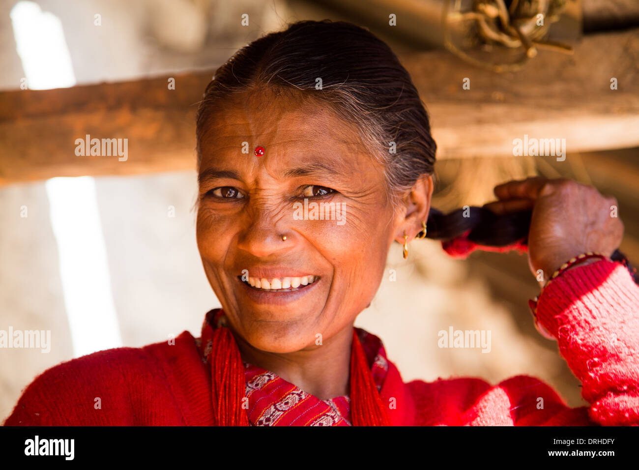 Nepalese woman in the hills above Kathmandu, Nepal - Stock Image