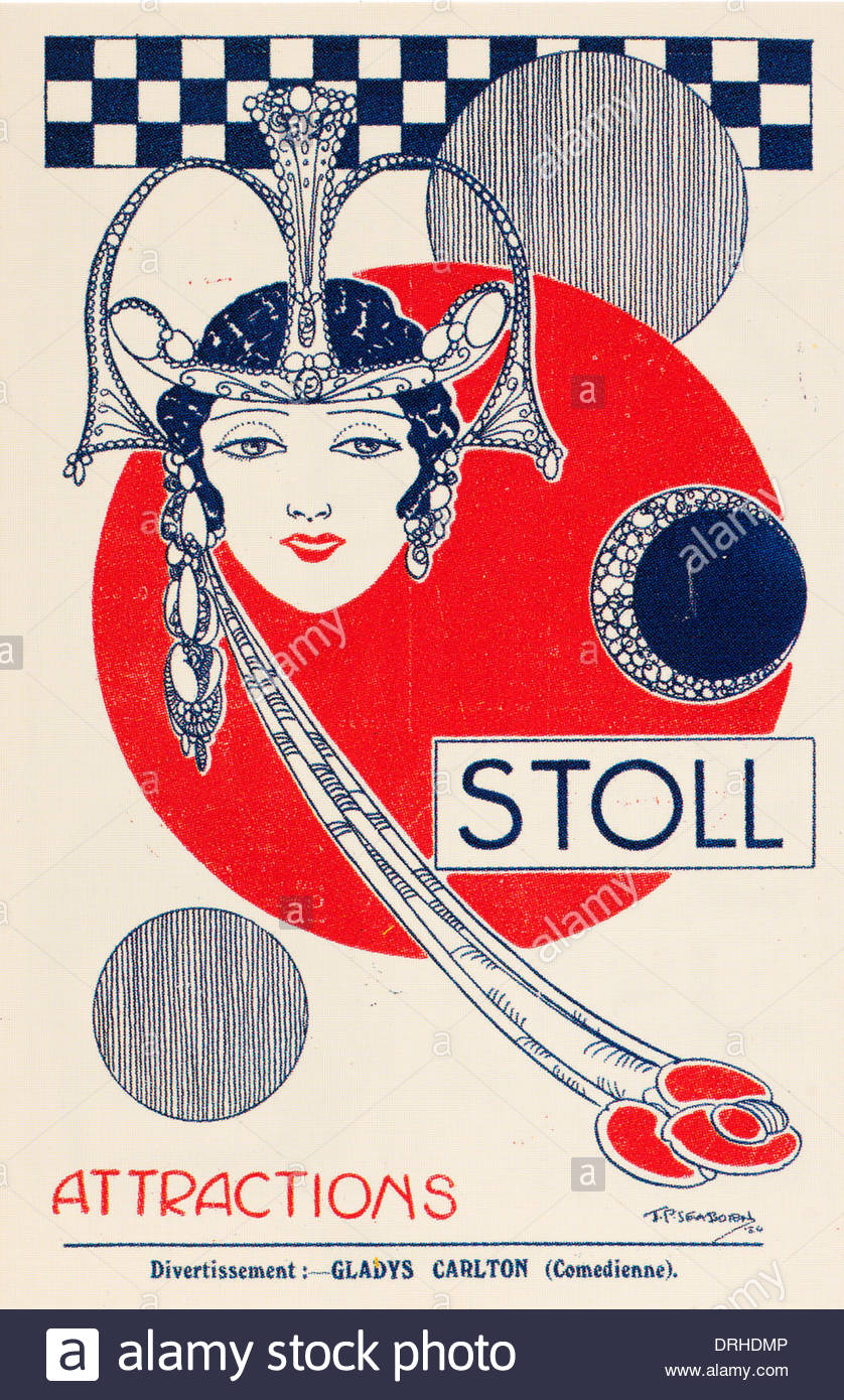 Small cigarette type card showing a Stoll theatre programme. EDITORIAL ONLY - Stock Image