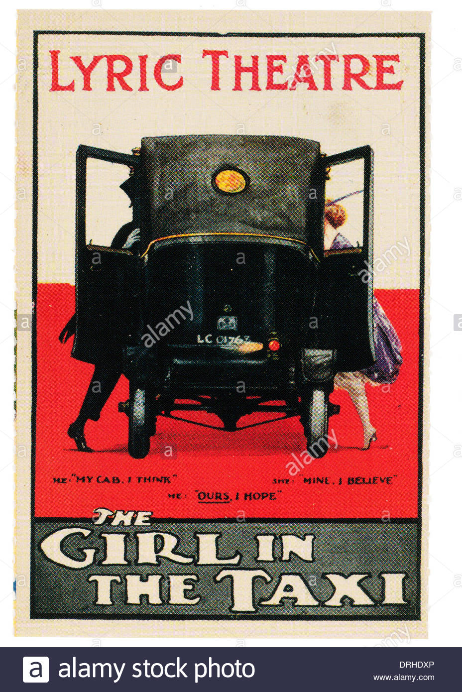 Advertisement for the Lyric theatre The Girl in the Taxi. EDITORIAL ONLY - Stock Image