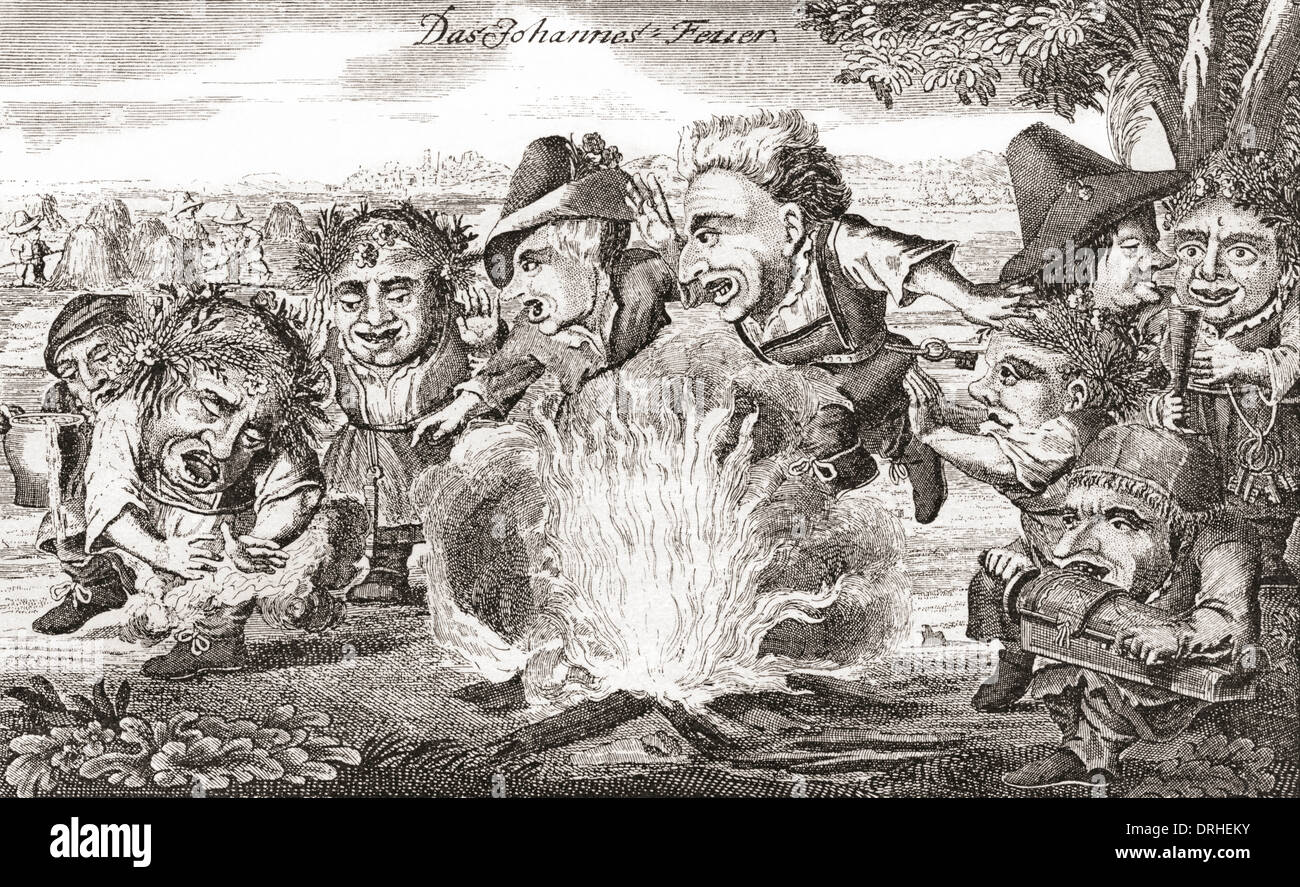 Satirical drawing of a rural St. John's Feast after an 18th century work. - Stock Image