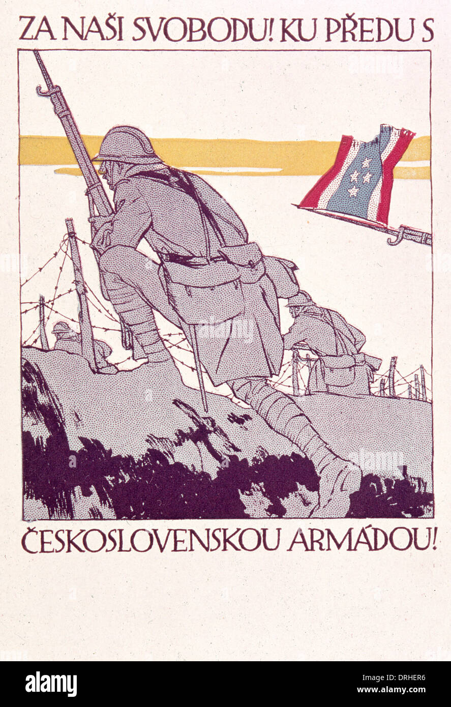 Poster, Czechoslovak Recruiting Office, WW1 - Stock Image