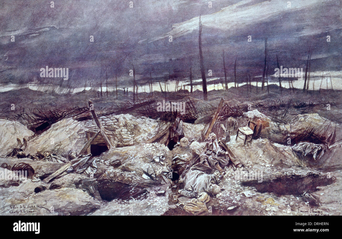German trench, Somme, northern France, WW1 - Stock Image