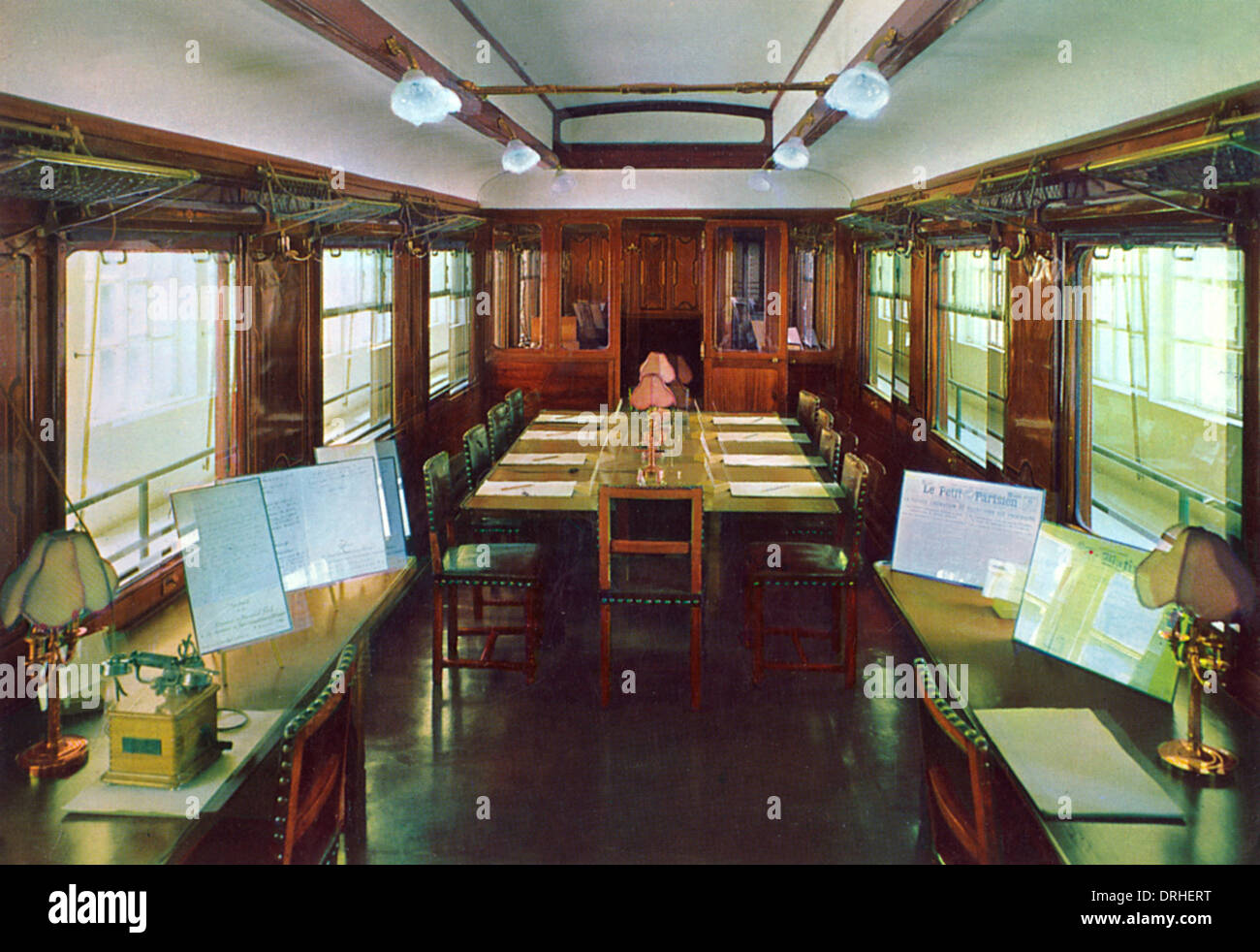 Interior of carriage where Armistice signed, France, WW1 - Stock Image