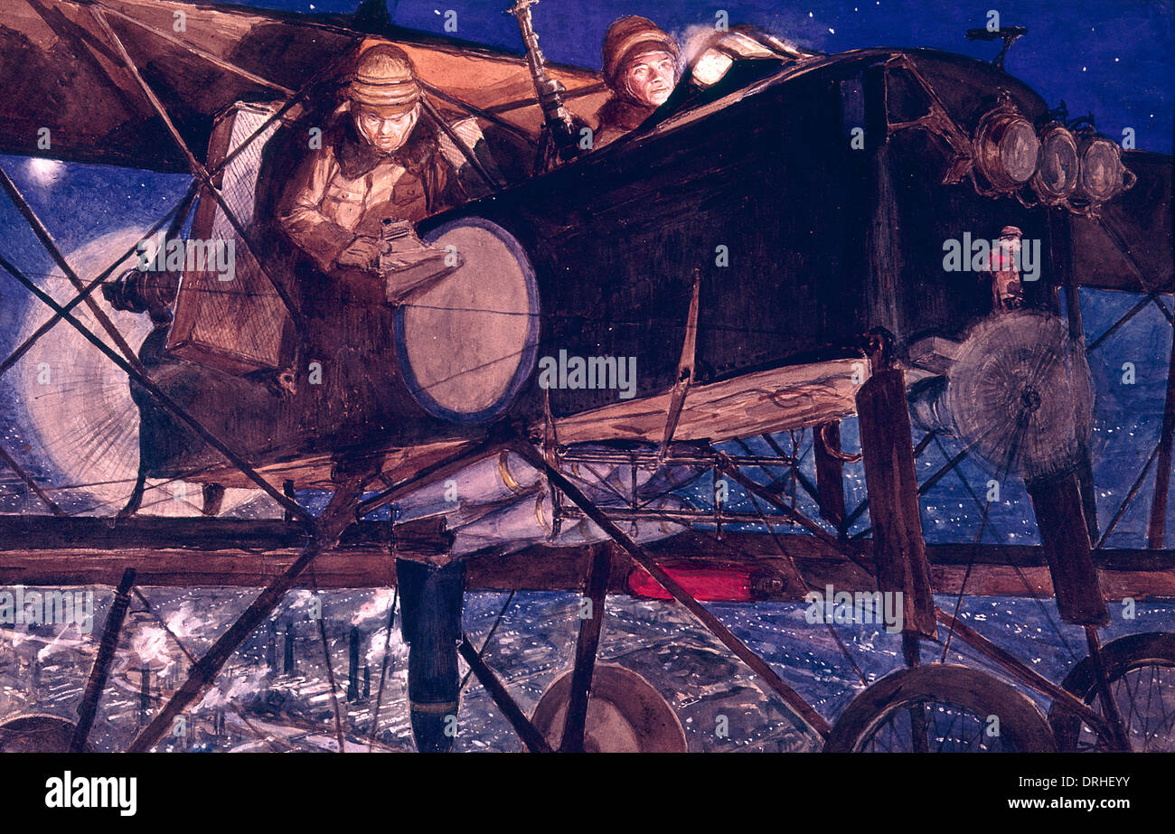 Two airmen in French bomber, WW1 - Stock Image