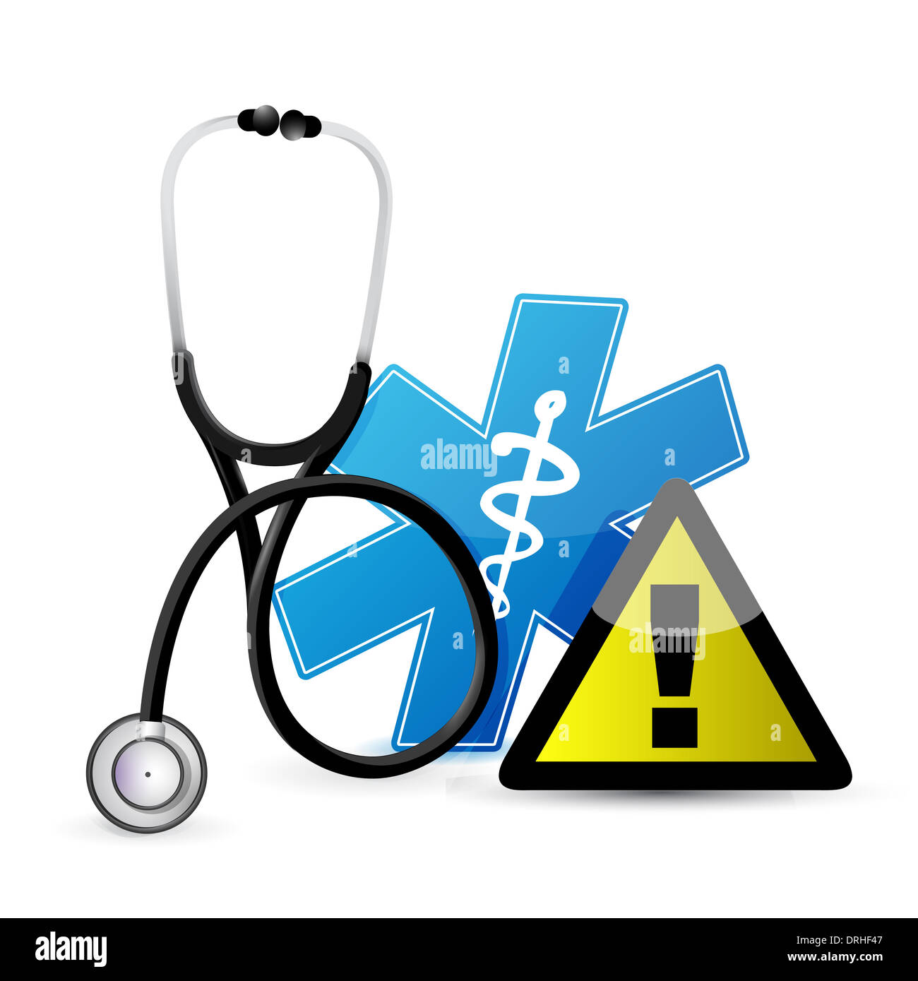 medical warning with a stethoscope illustration design over white