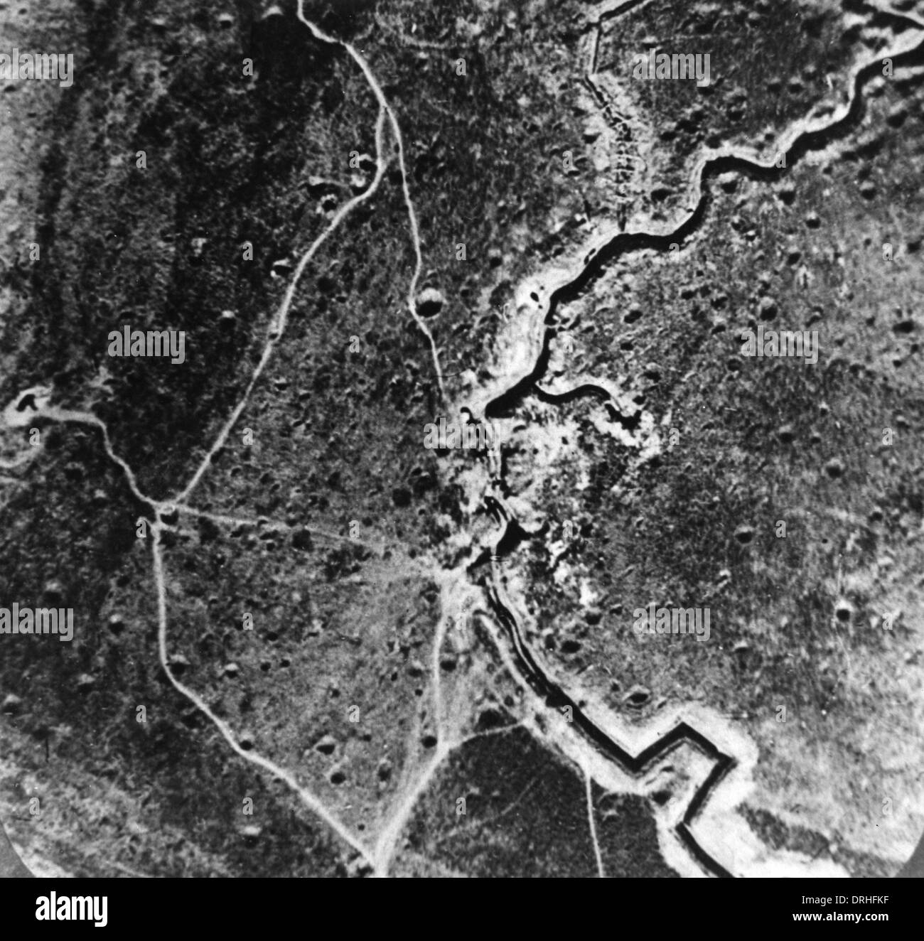 Aerial photograph of trenches and mine craters, WW1 - Stock Image