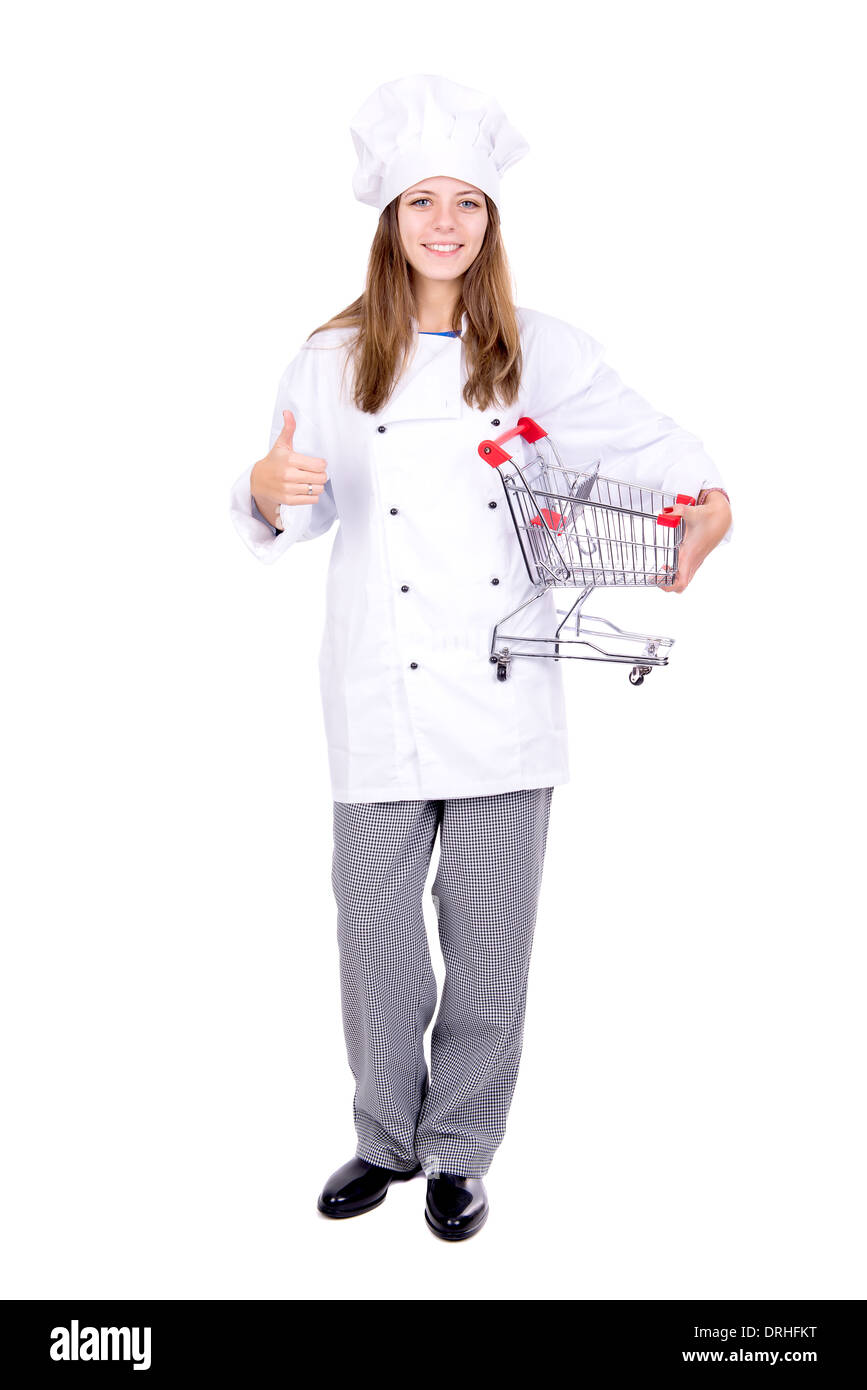 Young chef with small shopping cart isolated in white - Stock Image