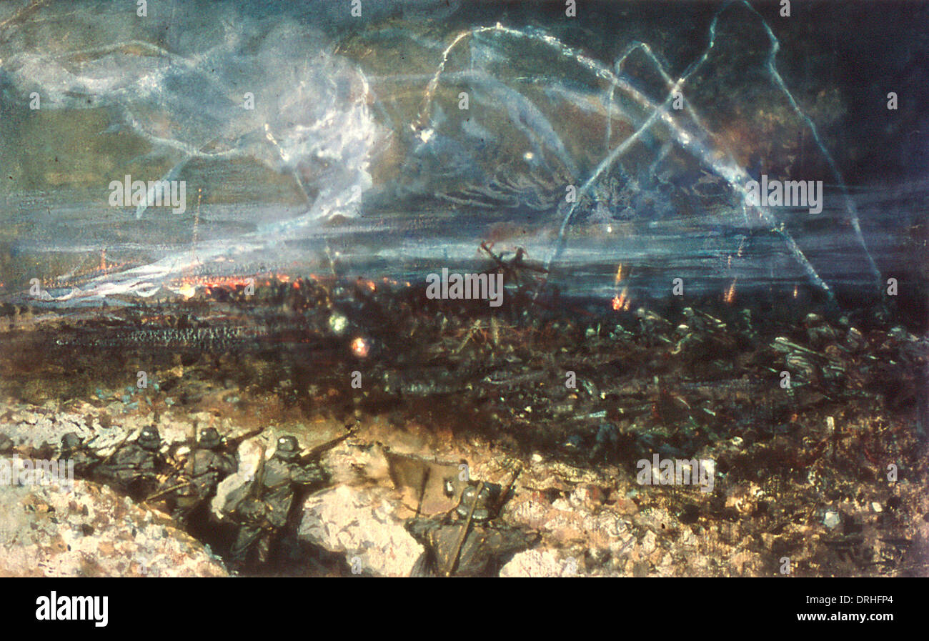 Fire Trench Stock Photos Images Alamy Diagram Ww1 German During Night Action Image