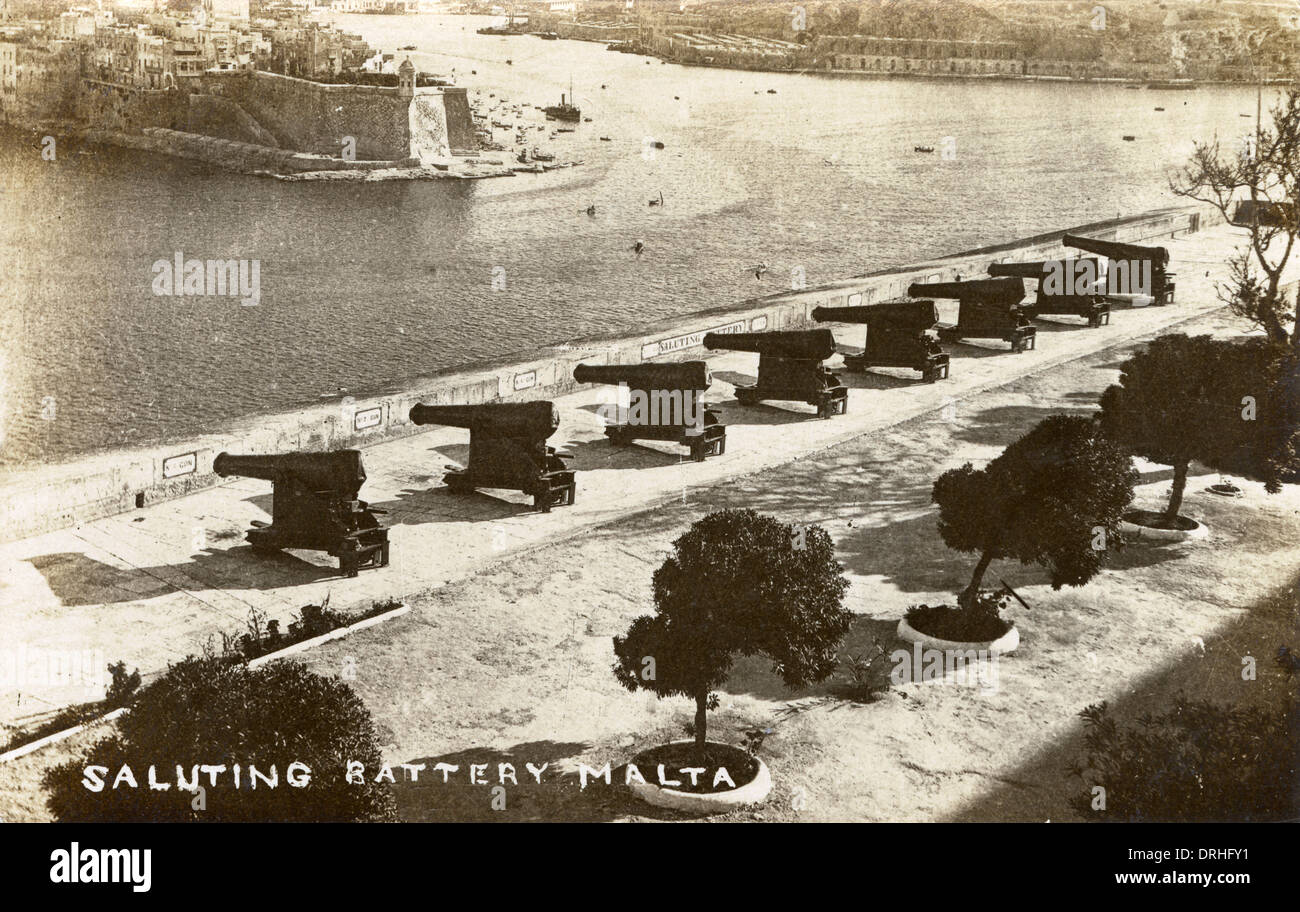 Malta - Saluting Battery, Valletta - WWI era - Stock Image