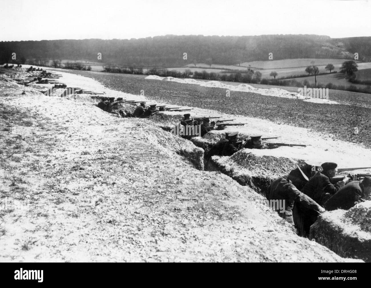 British soldiers in training, UK, WW1 - Stock Image