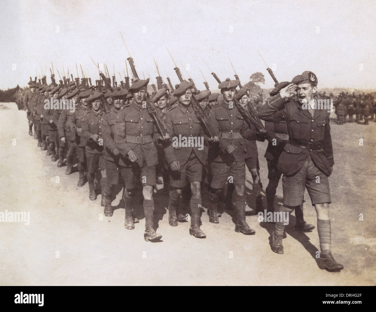 March past at medal presentation ceremony, WW1 - Stock Image