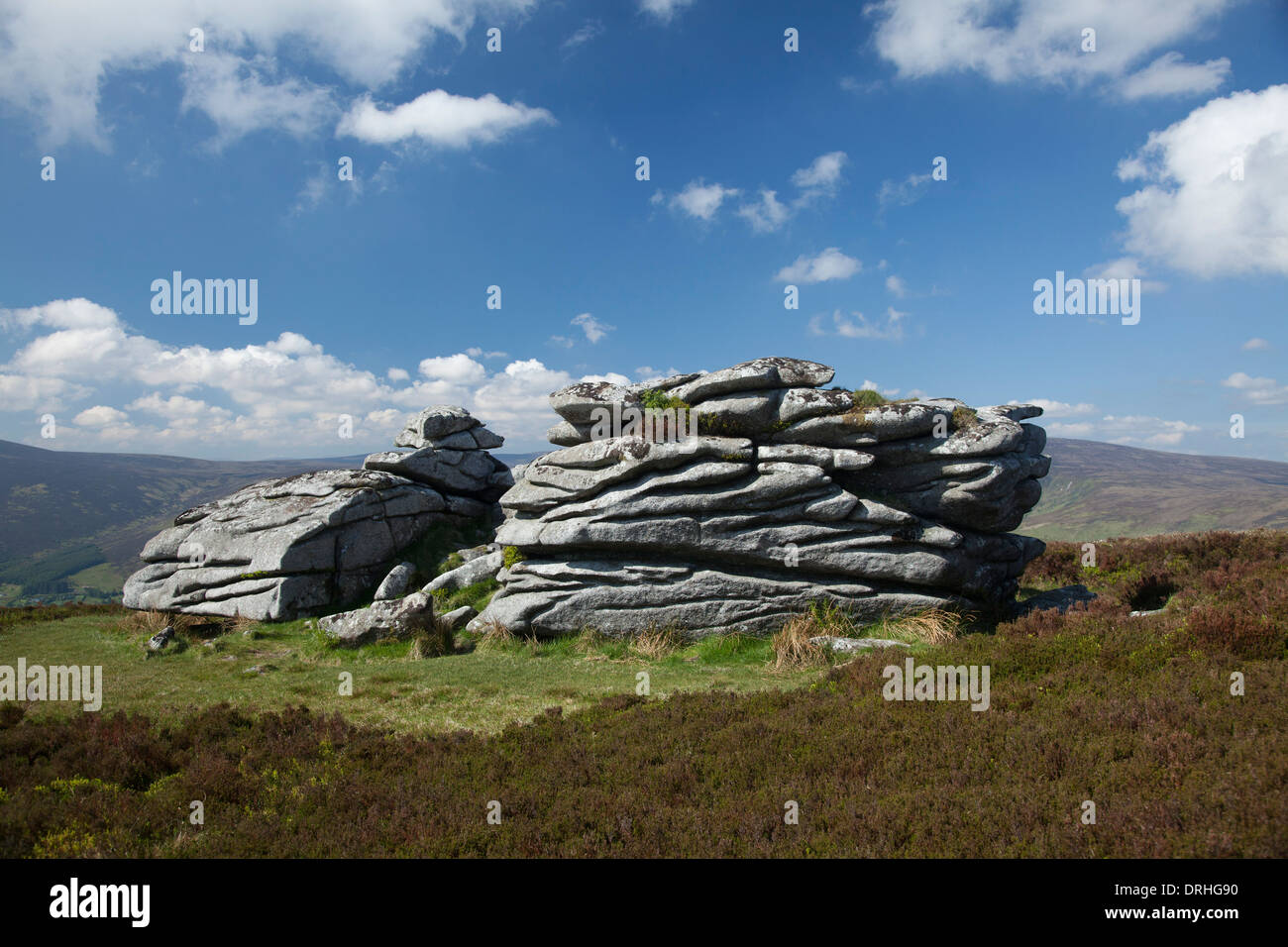 The granite tor of Fitzwilliam's Seat, near the summit of Knocknagun, On the border of counties Dublin and Wicklow, Ireland. - Stock Image