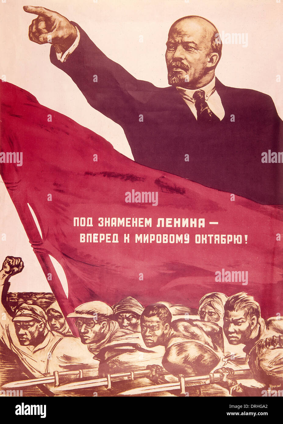 soviet poster lenin points the way forward stock photo 66154202