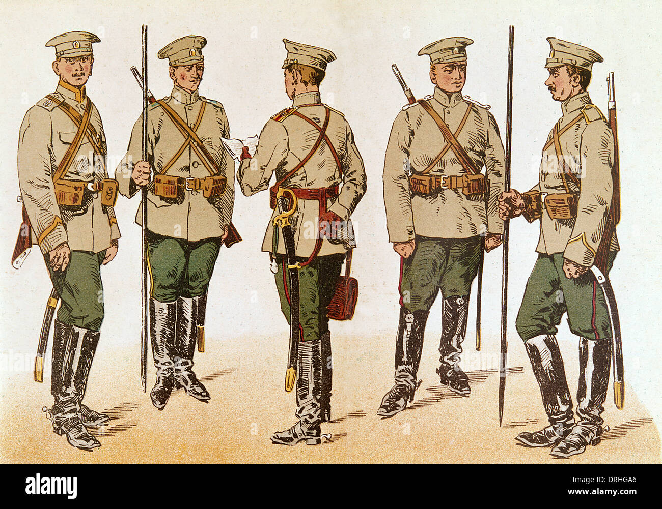 Russian cavalry uniforms, WW1 - Stock Image