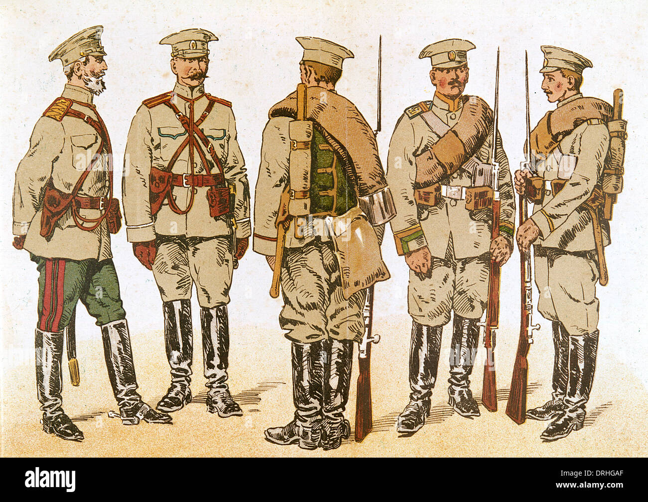 Russian army uniforms, WW1 - Stock Image