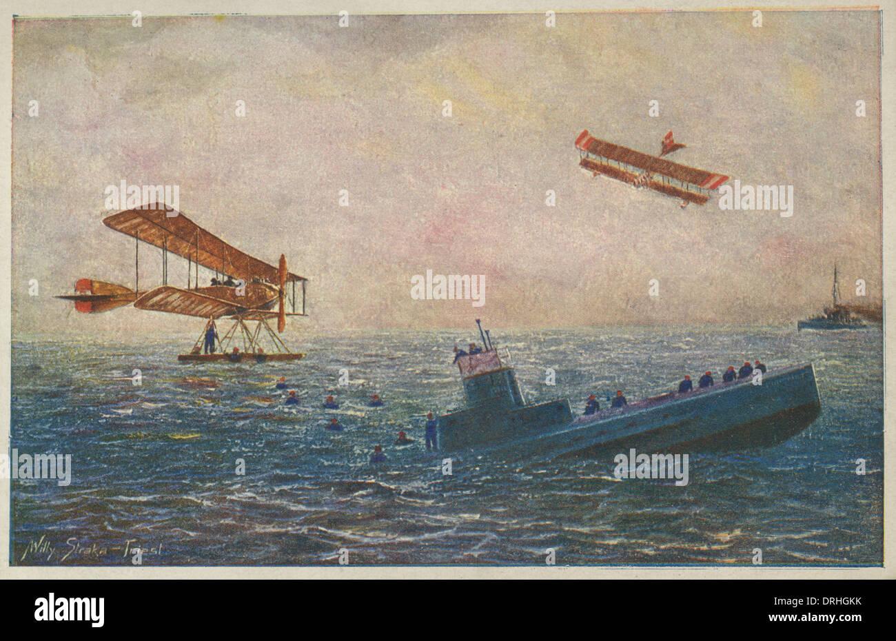 Austro-Hungarian seaplanes and sinking submarine, WW1 - Stock Image