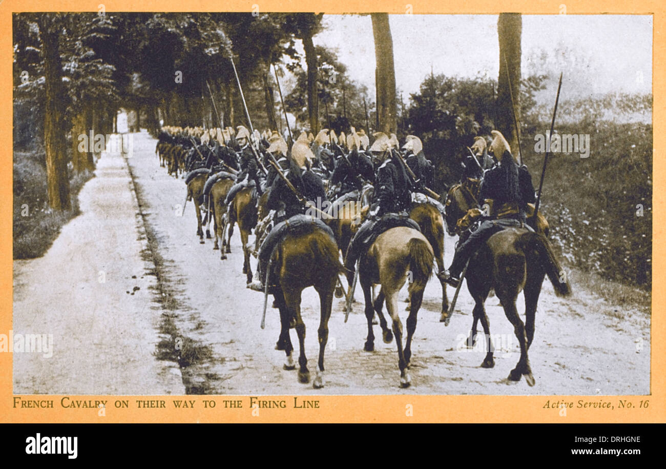 French Cavalry on their way to the Front - WWI Stock Photo