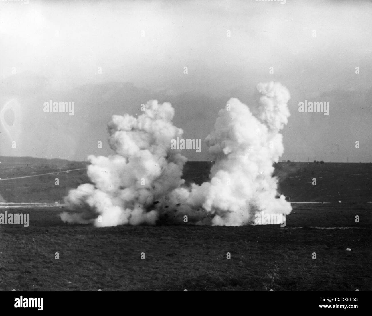 Chemical warfare, Livens bomb exploding, WW1 - Stock Image