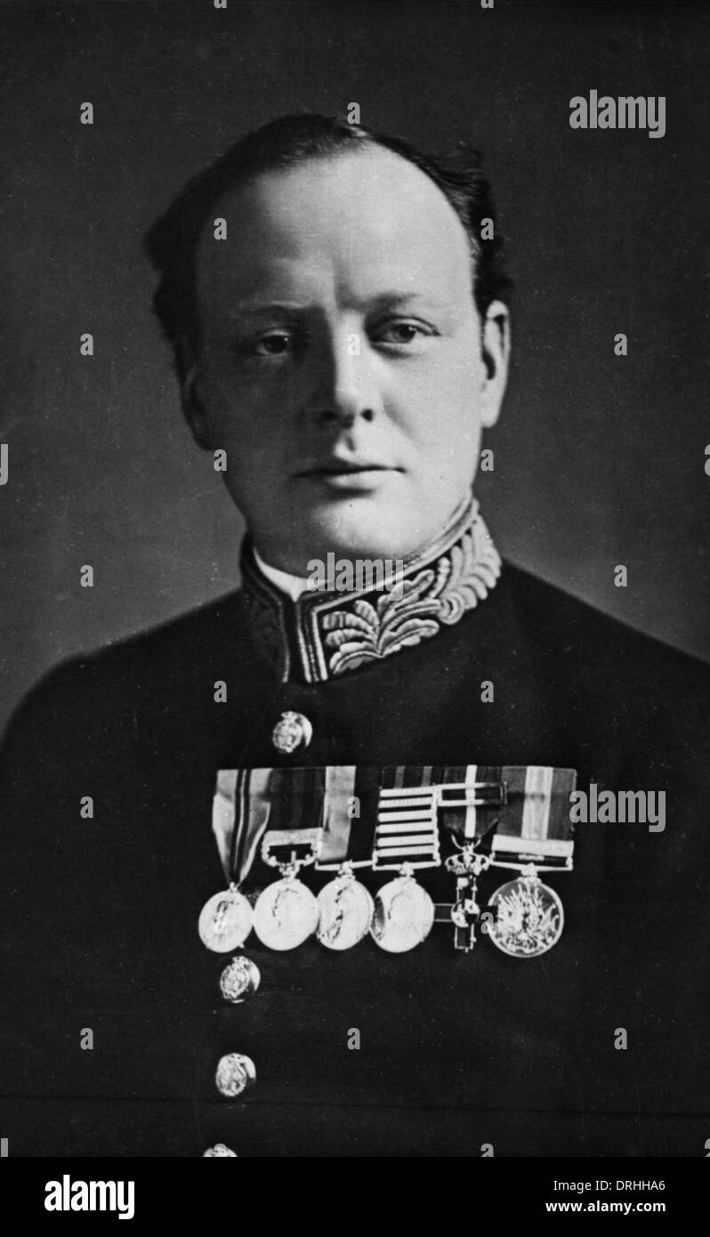 Portrait photograph of Sir Winston Churchill - Stock Image