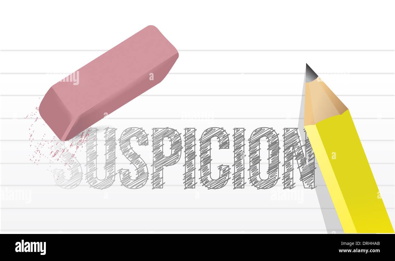 erasing suspicion concept illustration design over a white background Stock Photo