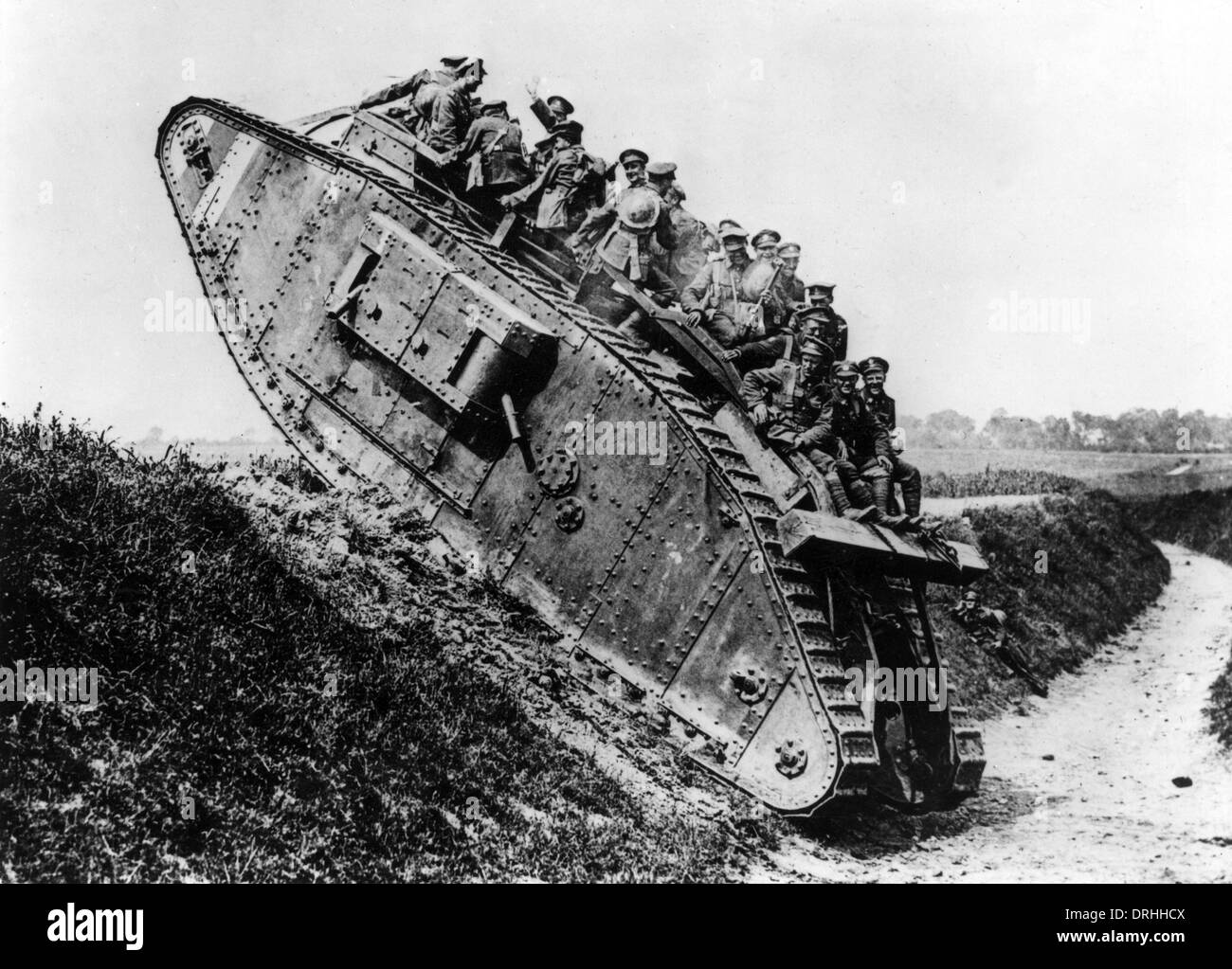 British Mark IV tank with Canadian soldiers, WW1 - Stock Image