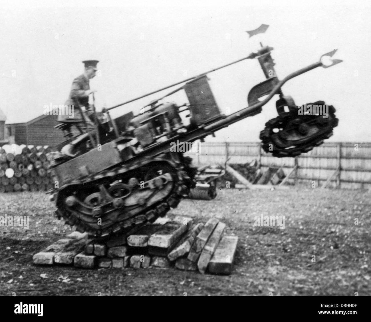 Experimenting with tank tracks, WW1 - Stock Image