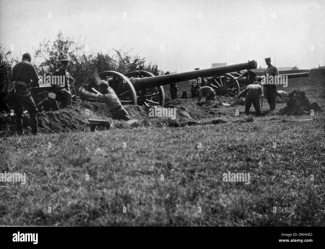 British 4.7 inch field guns, Western Front, WW1 - Stock Image