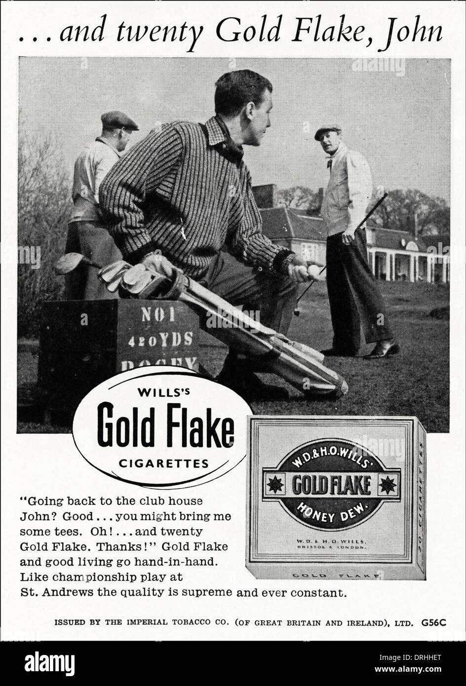 1950s advertisement advertising WILL'S GOLD FLAKE cigarettes, advert circa 1952. - Stock Image