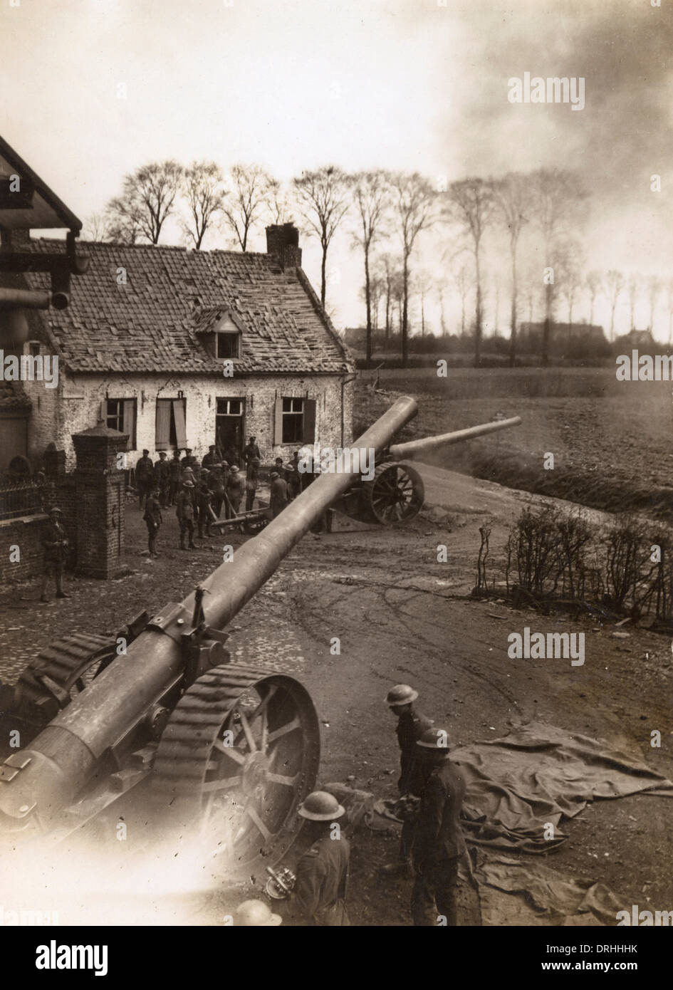 Big gun in Battle of the Lys, near Ypres, WW1 - Stock Image