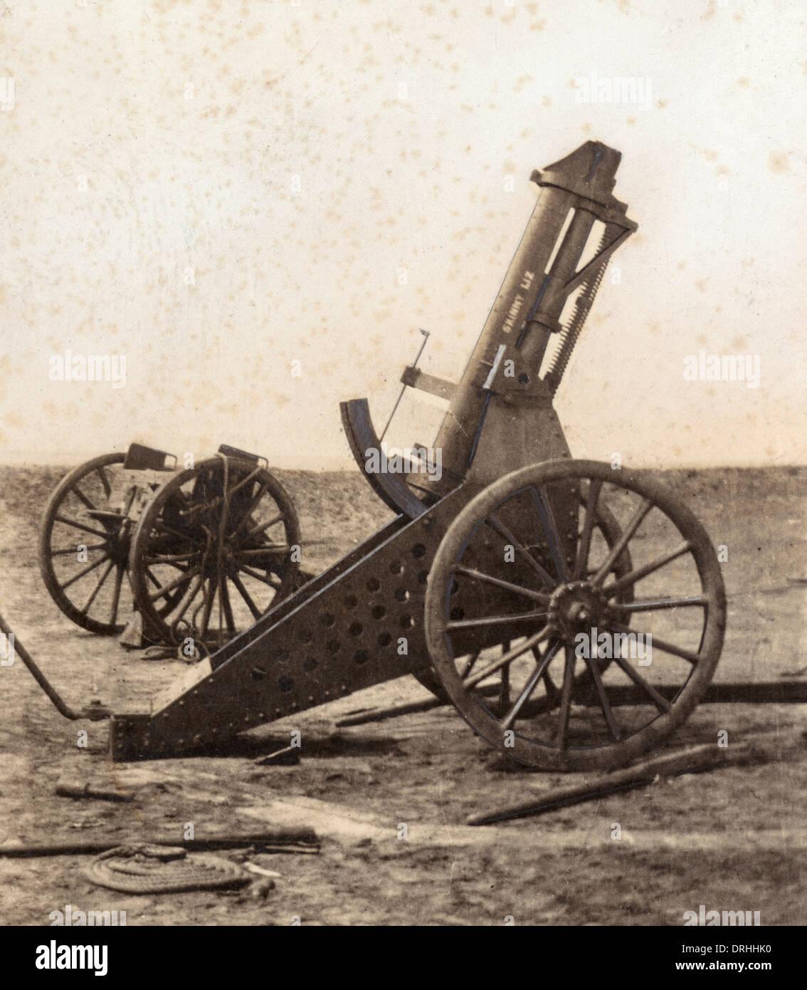 Anti-aircraft gun, Skinny Liz, Western Front, WW1 - Stock Image