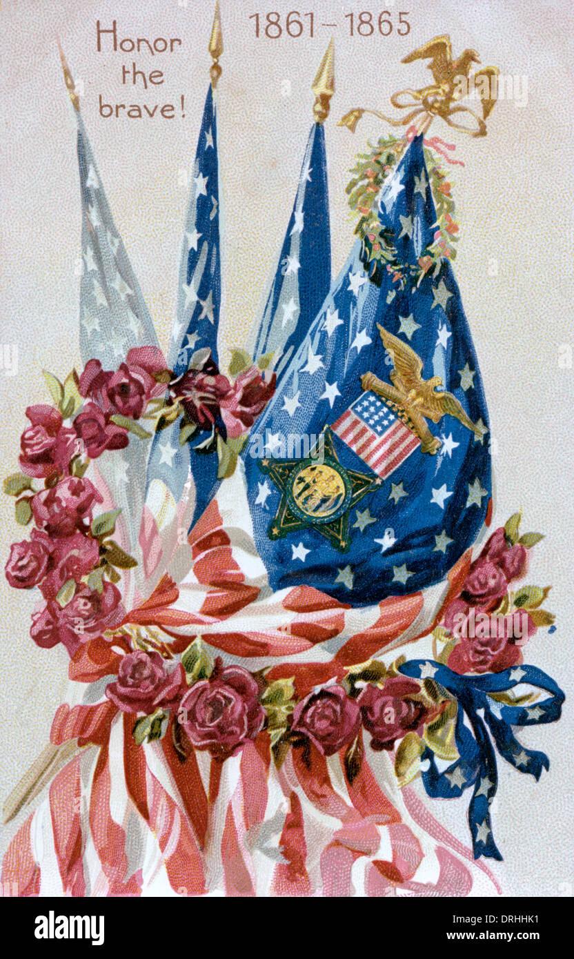 Honor the Brave! American Civil war memorial card - Stock Image