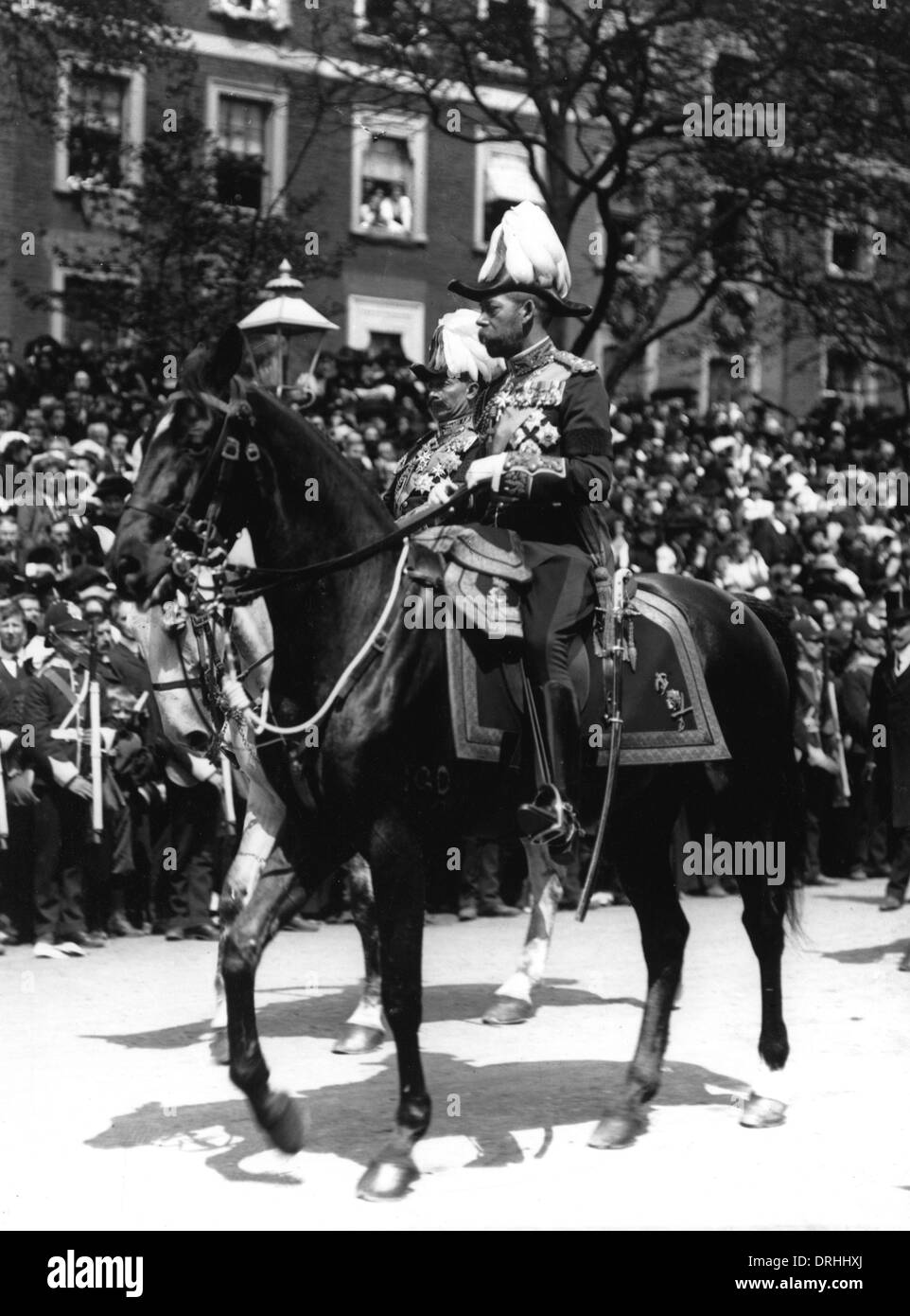 Portrait of King George V riding a horse - Stock Image