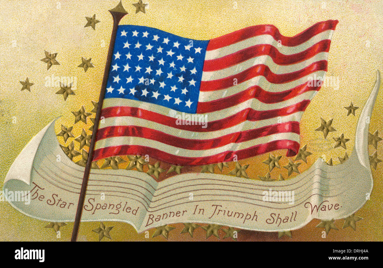 American postcard of the stars and stripes - Stock Image