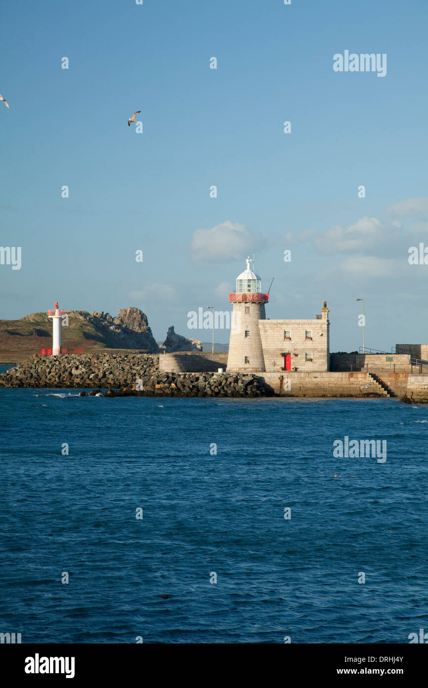 Howth Harbour Lighthouse dates from 1817, Howth Peninsula, County Dublin, Ireland. - Stock Image