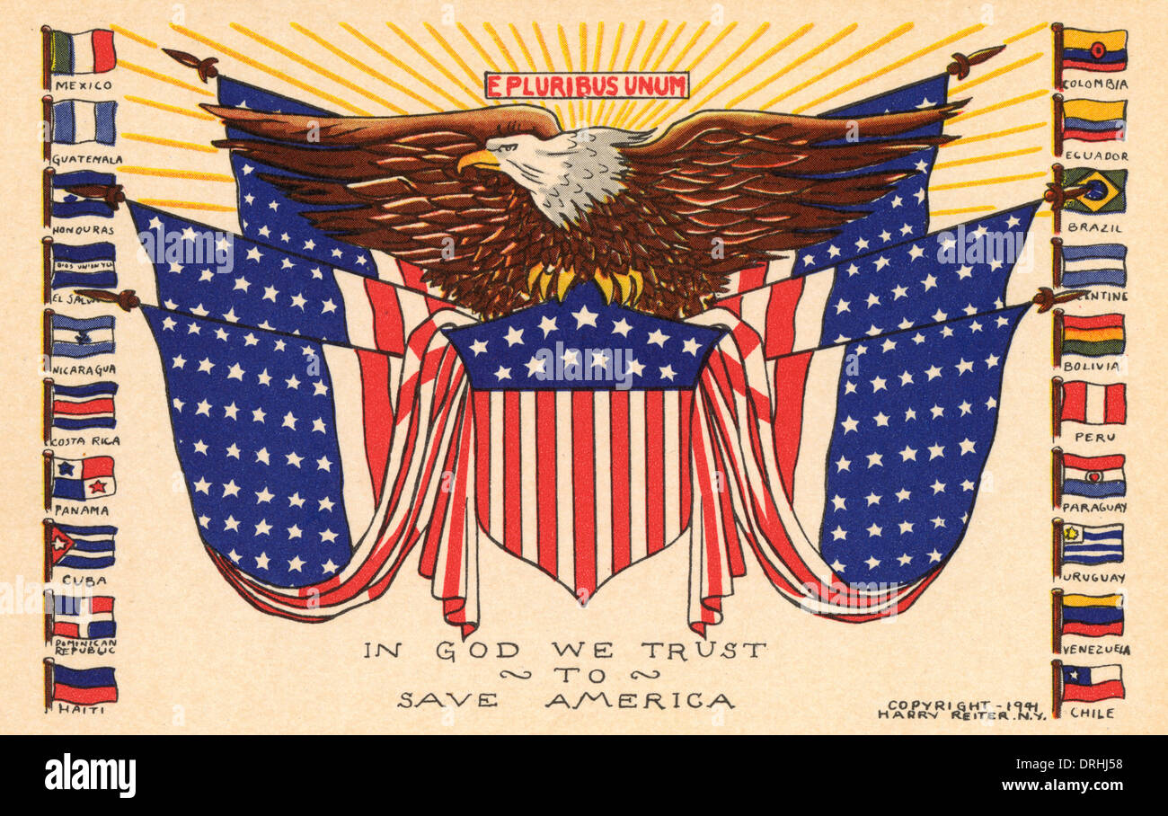 The American eagle and the Stars and Stripes - Stock Image