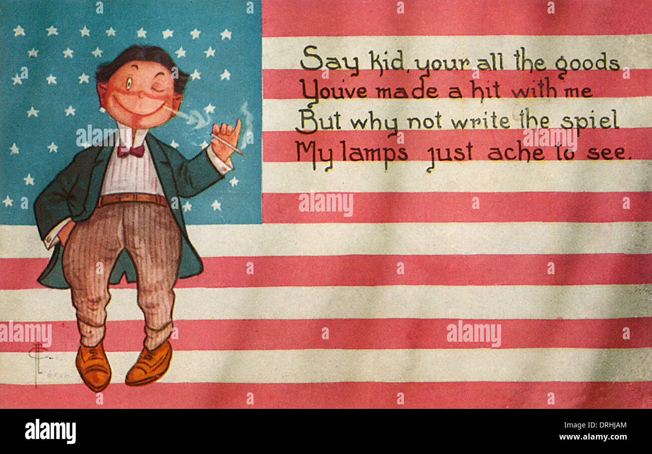 Lovestruck American lad with the Stars and Stripes - Stock Image