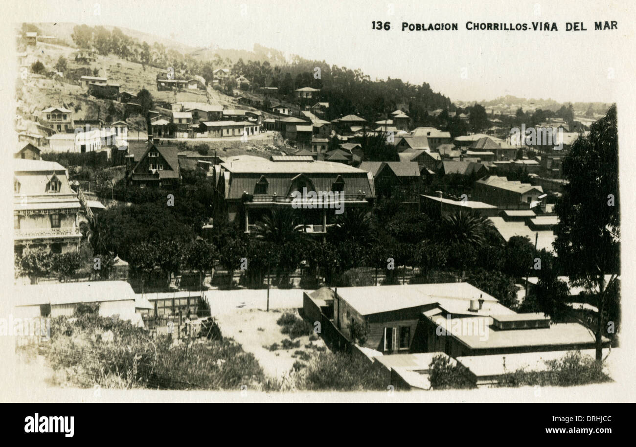 Chile - Valparaiso - A residential suburb - Stock Image