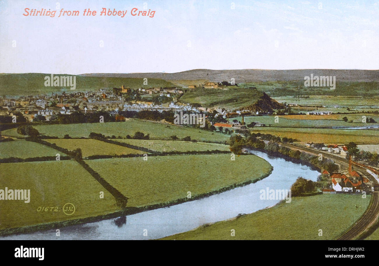 View of Stirling, Scotland from Abbey Craig - Stock Image